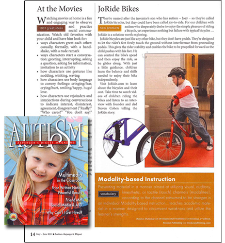Autism Digest Joride Bicycles